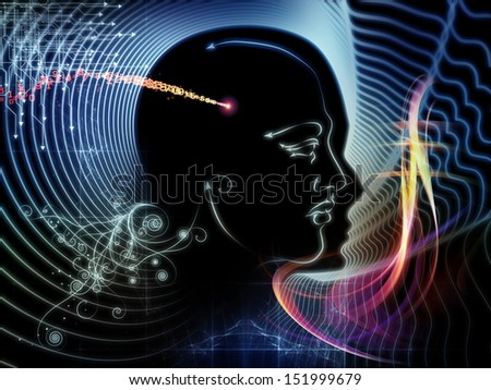 Composition of human feature lines and symbolic elements suitable as a backdrop for the projects on human mind, consciousness, imagination, science and creativity