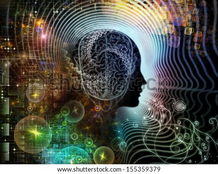Composition of  human feature lines and symbolic elements to serve as a supporting backdrop for projects on human mind, consciousness, imagination, science and creativity