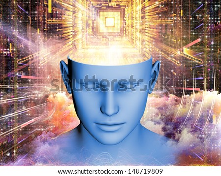 Composition of human head and symbolic elements suitable as a backdrop for the projects on human mind, consciousness, imagination, science and creativity