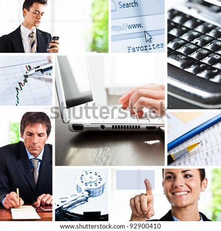 Composition of images representing business communication - stock photo