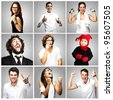 composition of joyful people over grey background - stock photo