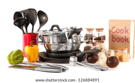 composition of kitchen tools,spices and vegetables isolated on white - stock photo