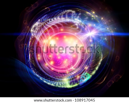 Composition of lights, curves and fractal elements with metaphorical relationship to technology, science and entertainment - stock photo