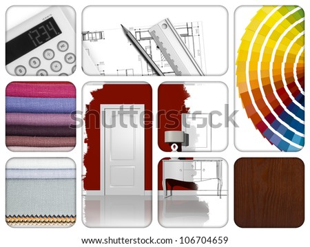 composition of materials and design tools - stock photo
