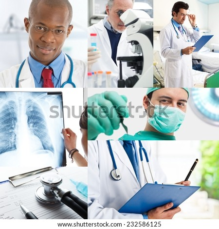 Composition of medical images - stock photo