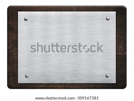 Composition of metal aluminum plaque, name plate wooden plank, board hanged on white wall - stock photo