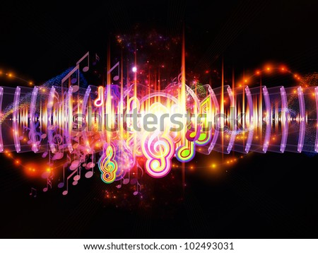 Composition of musical notes, lights, wave and sine patterns with metaphorical relationship to music, sound equipment and processing, audio performance and entertainment - stock photo
