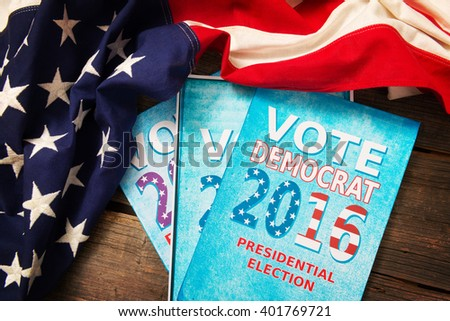 Composition of objects involving presidential election in USA - stock photo