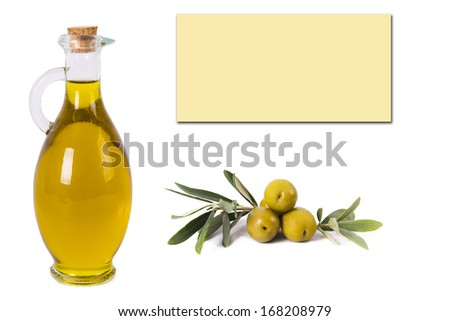 composition of oil bottles and olives