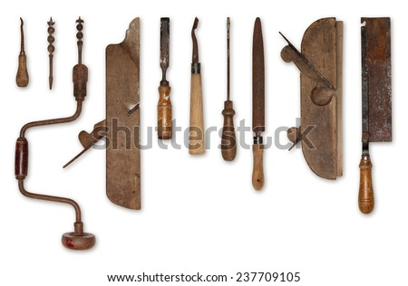 composition of old tools for wood - stock photo