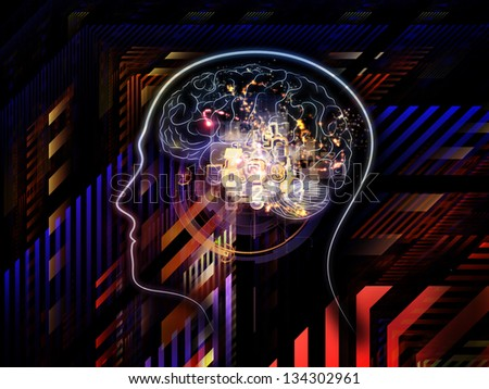Composition of outlines of human head, technological and fractal elements on the subject of artificial intelligence, computer science and future technologies - stock photo