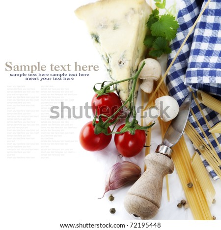 Composition of pasta, vegetables and cheese over white with sample text - stock photo