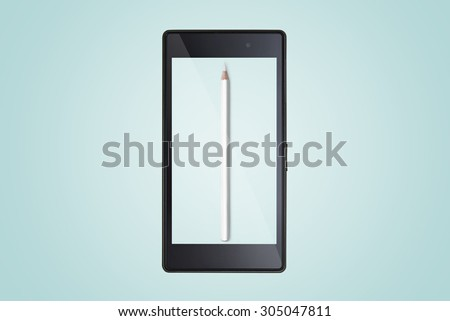 composition of pencils on modern mobile smart phone. - stock photo