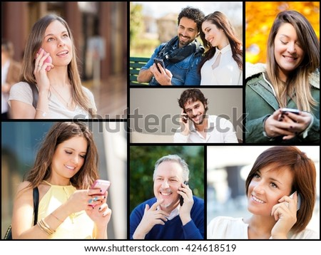 Composition of people talking on and using their phone - stock photo