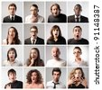 Composition of people with astonished expression - stock photo