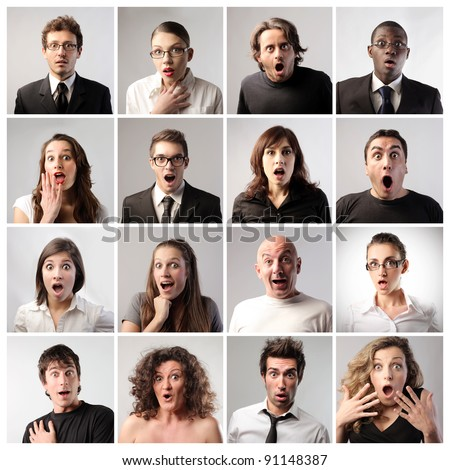 Composition of people with astonished expression