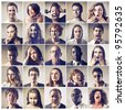 Composition of people with different expressions - stock photo