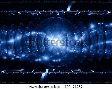 Composition of perspective fractal grids, lights, mathematical wave and sine patterns on the subject of modern technologies, science of energy, signal processing, music and entertainment