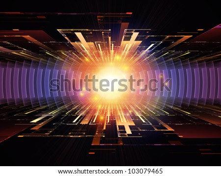 Composition of perspective fractal grids, lights, mathematical wave and sine patterns on the subject of modern technologies, science of energy, signal processing, music and entertainment - stock photo