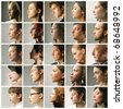Composition of profiles of people of different ages - stock photo