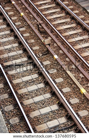 Composition of railroad tracks, direction concept - stock photo