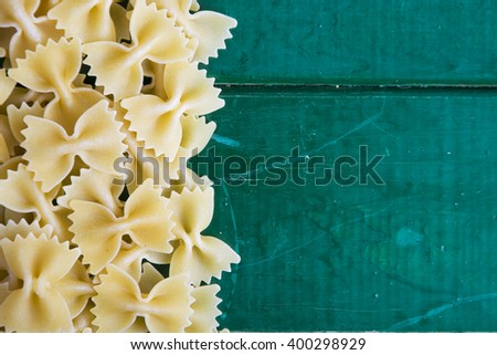 composition of raw pasta, frame of raw pasta. room for text - stock photo