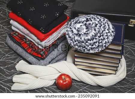 Composition of reading and relaxation at winter trip. Stack of winter clothes with red apple and books with silver edge. Books wrapped beret and warm scarf. - stock photo