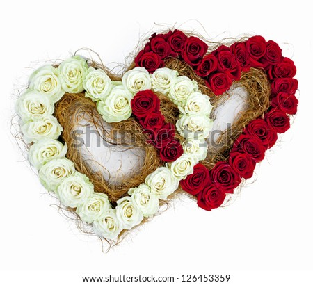 composition of roses in the shape of 2 hearts - stock photo