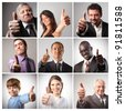 Composition of satisfied people with thumbs up - stock photo