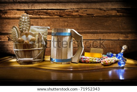 composition of sauna articles - stock photo