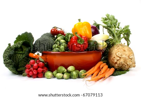 Composition of several fruits and vegetables - stock photo