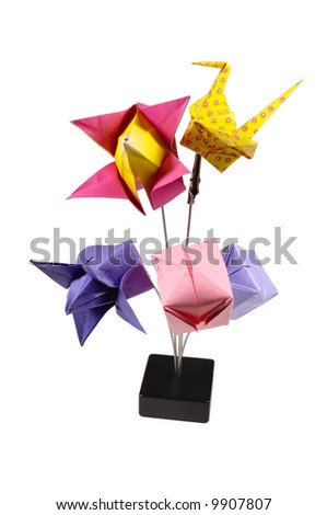 Composition of several origami figurines - stock photo