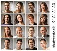 Composition of smiling people - stock