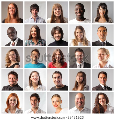 Composition of smiling people - stock photo