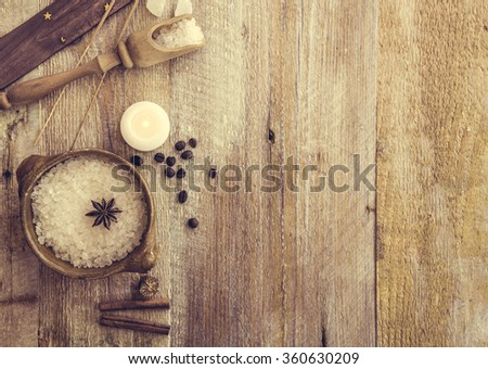 Composition of spa treatment on the wooden table