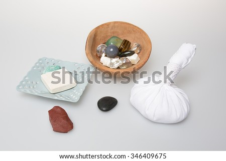 Composition of spa treatment  Top view isolated - stock photo