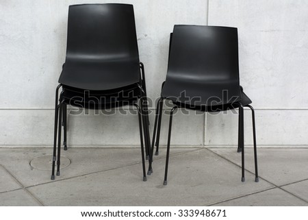 Composition of Stacked Chairs at an Entertainment Venue - stock photo