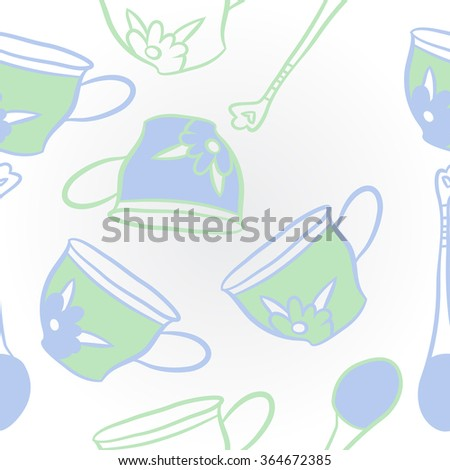Composition of stylized pattern, doodles, caps, teaspoons,leaves,spots, floral ornament, hole. Hand drawn.