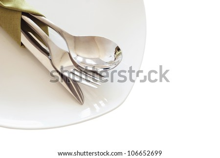 Composition of table settings . Isolated on white background - stock photo