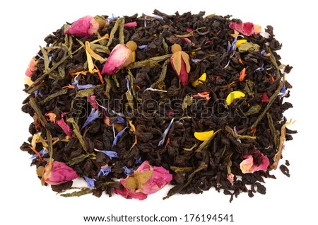 composition of tea on a white background - stock photo