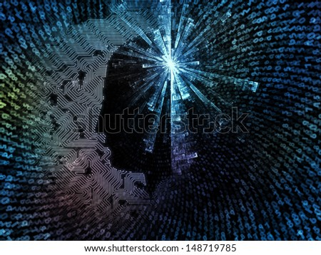 Composition of technological texture and human profile on the subject of technology, computers and artificial intelligence - stock photo