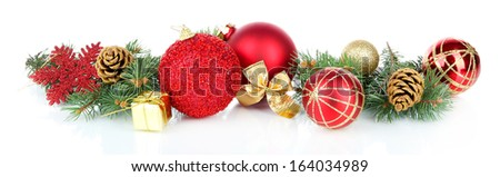 Composition of the Christmas decorations isolated on white - stock photo