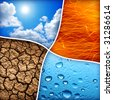 Composition of the four natural elements water, fire, earth, air - stock photo