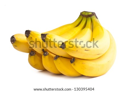composition of the ripe banana on a white background. studio photography