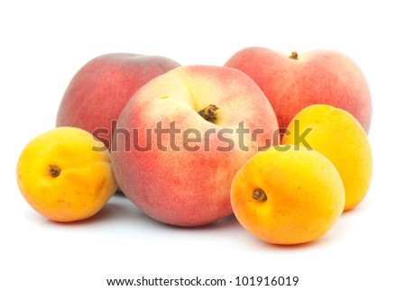 composition of the ripe mix of  fruit on a white background. studio photography - stock photo