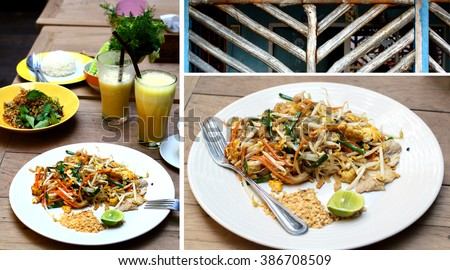 Composition of three images showing healthy Thai meal with Pad Thai dish and glasses with fruit juice. - stock photo