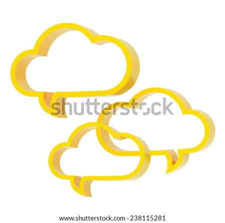 Composition of three yellow cloud shaped text bubbles isolated over the white background - stock photo