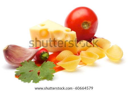 Composition of: tomato, conchiggle, cheese, garlic, parsley, ketchup, chili pepper. Close-up. Isolated on white background.