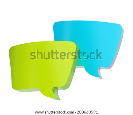 Composition of two, blue and green text bubbles isolated over the white background