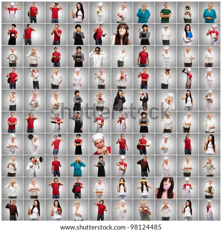 composition of various person over grey background - stock photo